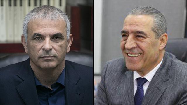 Moshe Kahlon (left) and Hussein al-Sheikh (right) (Photo: Ohad Zwigenberg)