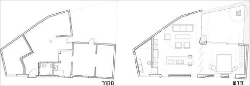 משמאל: החלוקה המקורית של הבית. מימין: אחרי השיפוץ. כל הקירות הפנימיים, ואלה הגובלים בחצר הקטנה, הוסרו (תוכנית: אדריכל רז מלמד)