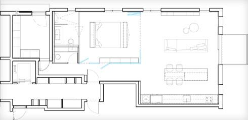 תוכנית הדירה. גם כאן חדר השינה השקוף הוא במרכז (תוכנית: אורי מיליק)