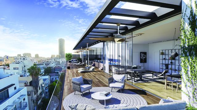 משהו קורה על גגות תל אביב.  הדמיית דירת פנטהאוז בפרויקט רחוב הקונגרס 9 (הדמיה להמחשה בלבד) (צילום: 3design)
