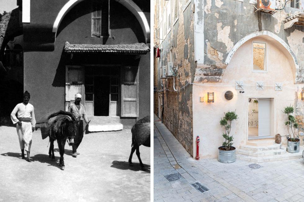 הכניסה לאחת מיחידות האירוח נעשית מכיכר עבוד (גנואה, לשעבר). משמאל נראה המבנה בצילום משנת 1933 (צילום: אורית ארנון, צילום: מתוך akkanet.net)