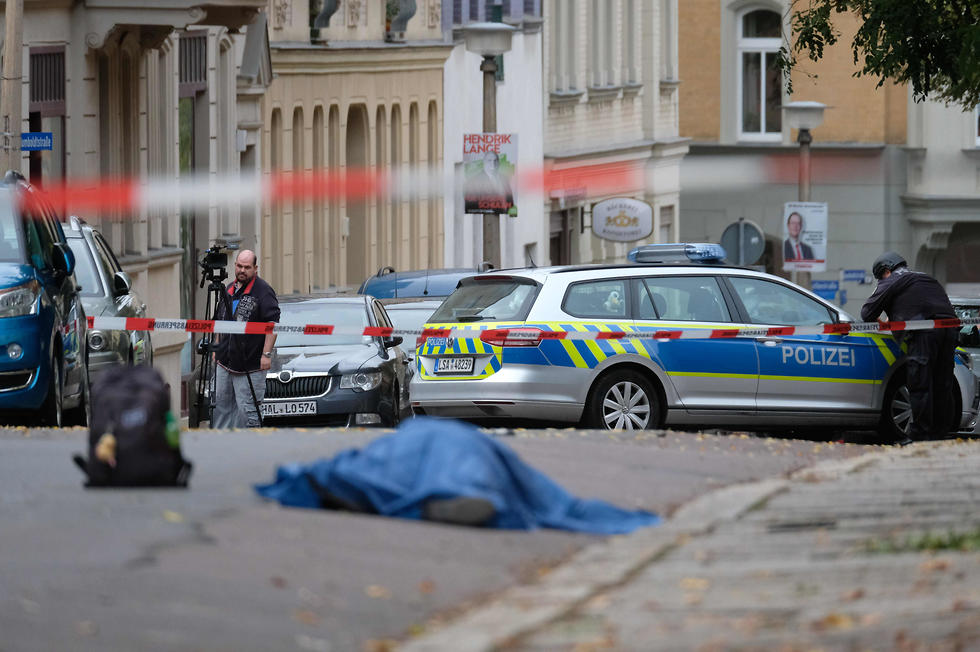 The scene of the deadly Yom Kippur attack at a synagogue in Germany (Photo: AFP)  (צילום: AFP)