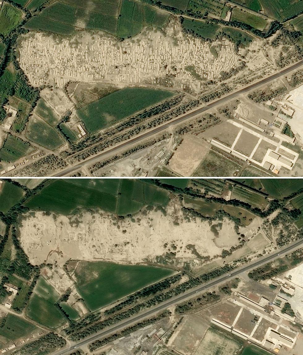 סין שינג'יאנג תמונות לוויין הרס לכאורה של בתי עלמין של מוסלמים אויגורים (צילום: AFP)