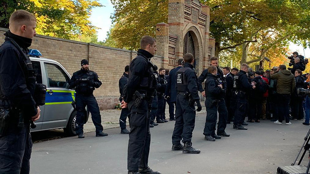 Security at place of anti-Semitic attack in Germany