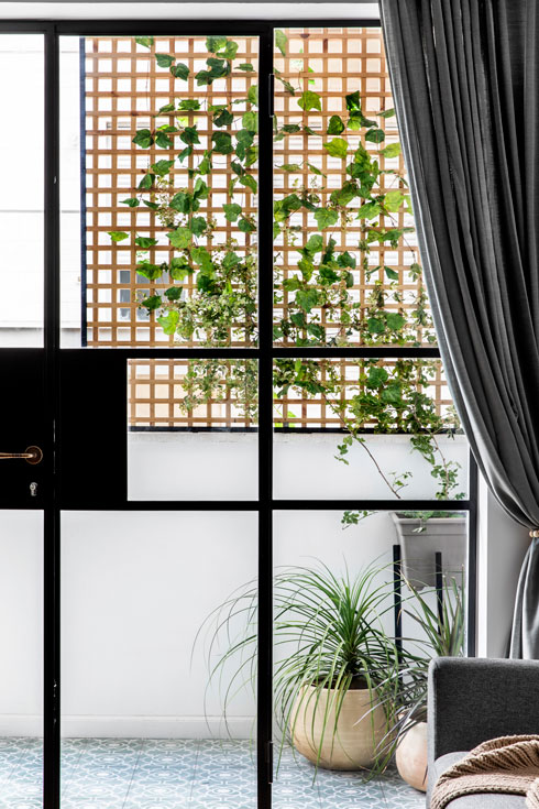 וילונות שמשתפלים עד לרצפה מדגישים את גובהה המרשים של התקרה (צילום: איתי בנית)