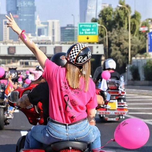 """""""עלי על האופנוע וניסע"""". שיירה להעלאת המודעות למחלה (צילום: זיו ברק)"""