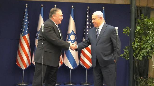 U.S. Secretary of State Mike Pompeo with Israeli Prime Minister Benjamin Netanyahu following their meeting Friday in Jerusalem (Photo: Eli Mandelbaum)