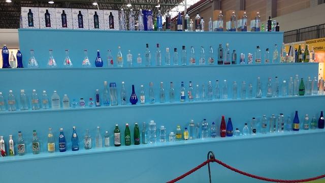 Display of international bottled mineral waters in Termatalia