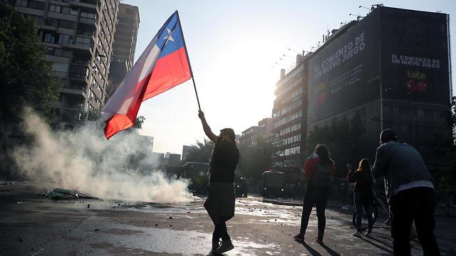 מהומות בסנטיאגו בירת צ'ילה (צילום: רויטרס)