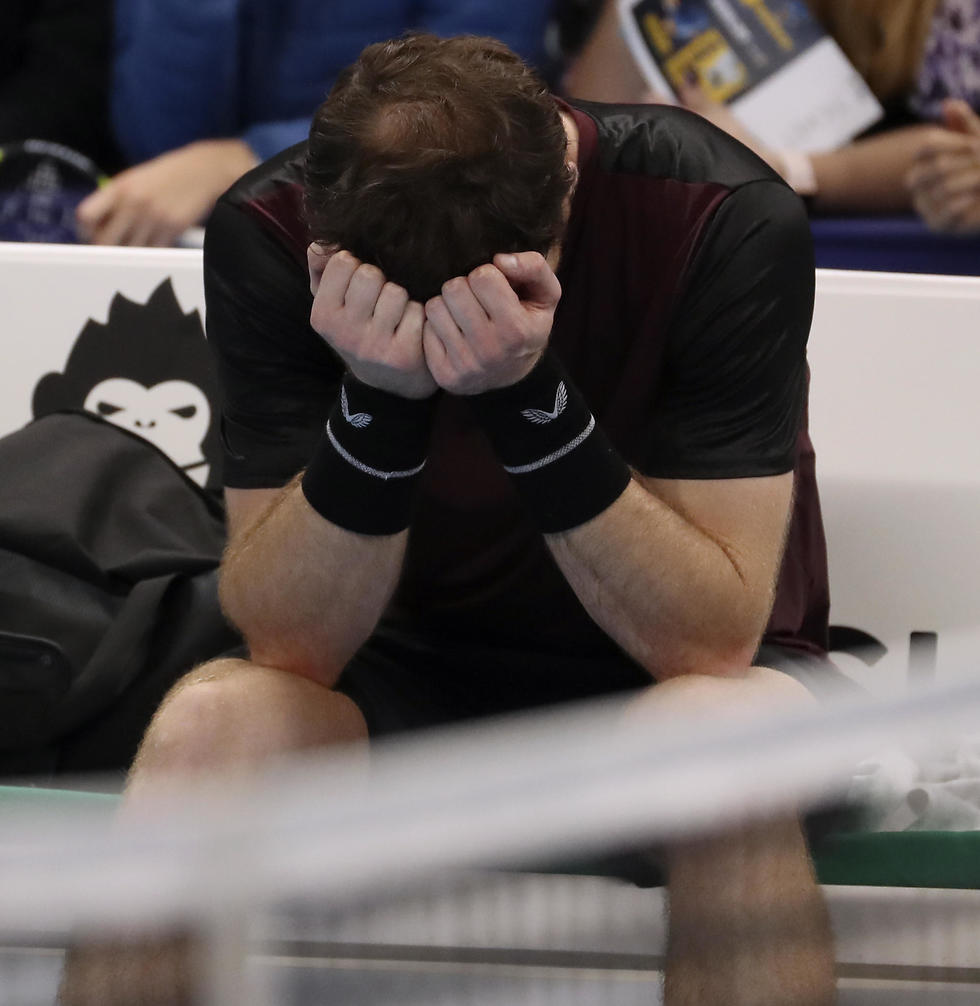 אנדי מארי פורץ בבכי (צילום: AP)