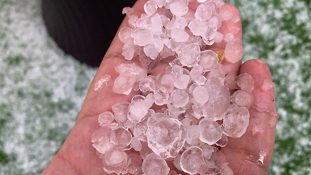 Hailstones in the northern city of Safed on Tuesday (Photos: Safed City Hall)