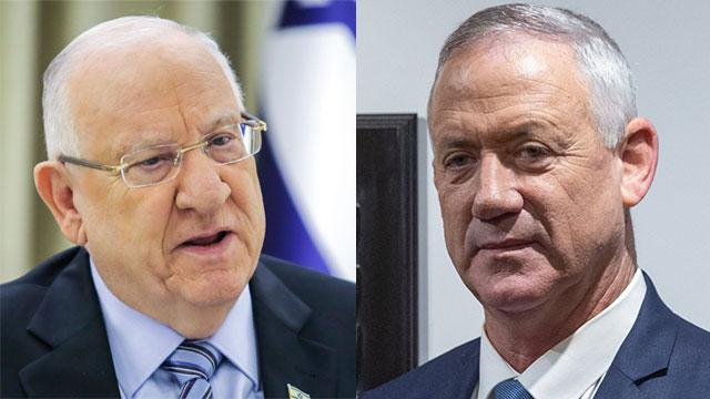 President Reuven Rivlin and Blue and White leader MK Benny Gantz (Photo: Ohad Zwigenberg, Flash 90)