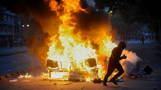 מחאה בסנטיאגו דה צ'ילה (צילום: gettyimages)