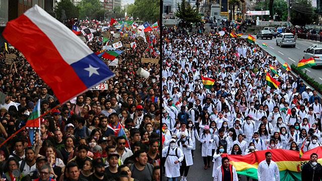 הפגנות מחאה צ'ילה בוליביה (צילום: רויטרס, AFP)