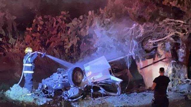 זירת התאונה בכביש 85 ()