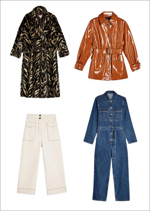 ז'קט ויניל, 429.90 שקל | מעיל מנומר, 699.90 שקל | אוברול ג'ינס, 429.90 שקל | מכנסיים לבנים, 349.90 שקל