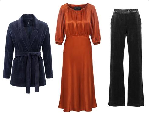 מכנסי קטיפה, 429 שקל | שמלת טינה, 990 שקל | ז'קט קטיפה, 590 שקל (צילום: עדי גלעד)