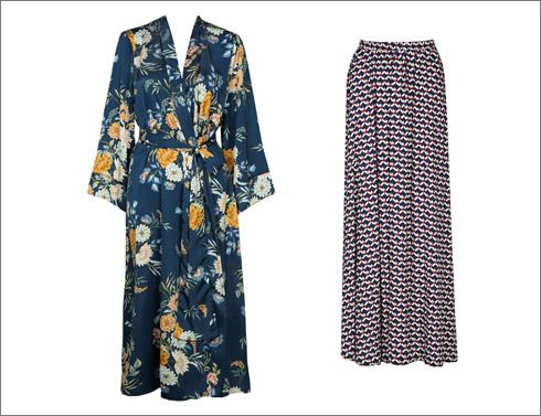 חצאית מקסי בהדפס גרפי, 329 שקל | שמלת קימונו, 489 שקל (צילום: נעמי ים סוף)