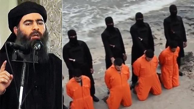 אבו בכר אל בגדאדי ולוחמי דאעש (צילום: AP)