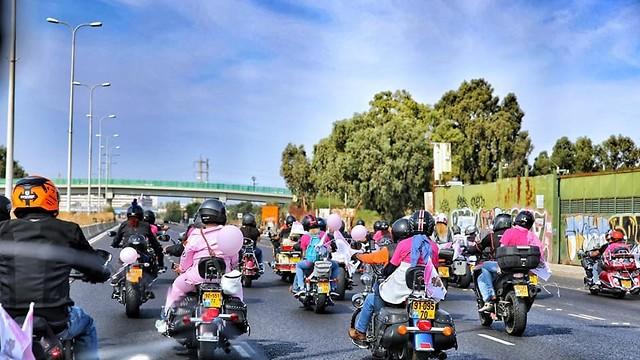 הארלי דוידסון רוכבים להעלאת מודעות לסרטן השד (צילום: שרון שחר (מתוך עמוד הפייסבוק))