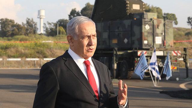 Prime Minister Benjamin Netanyahu at the Palmachim air base (Photo: Mark Israel Salem)