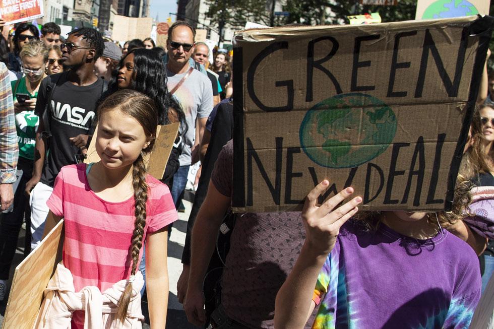 טונברג בהפגנת אקלים (צילום: AP)