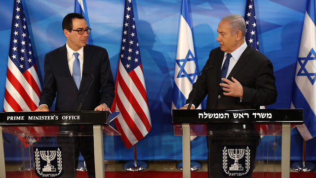 Prime Minister Benjamin Netanyahu and U.S. Treasury Secretary Steven Mnuchin deliver joint statements during their meeting in Jerusalem, Monday, Oct. 28, 2019