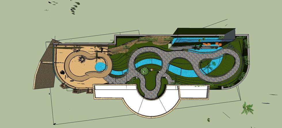 נחל מדומה מלווה את השביל וחוצה את המבנה המלבני של החממה מקצה לקצה (תוכנית: אלי בקר ופירס בורדקין, הגן הבוטני)