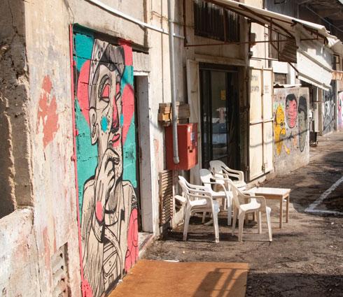 """ציור שלהם ברחוב עקרון בחיפה. """"ניקוי והתחדשות"""" (צילום: גיל נחושתן)"""