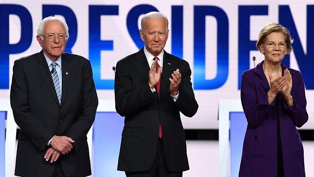 ג'ו ביידן אליזבת וורן ברני סנדרס עימות דמוקרטי ב אוקטובר ארה