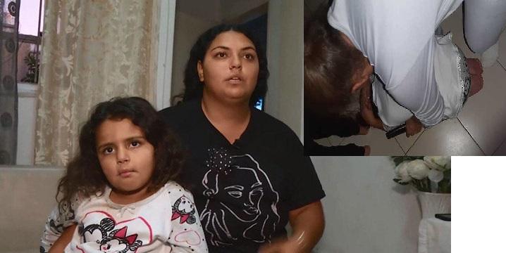 Тахель Дахан с мамой, на врезке - фото во время обстрела