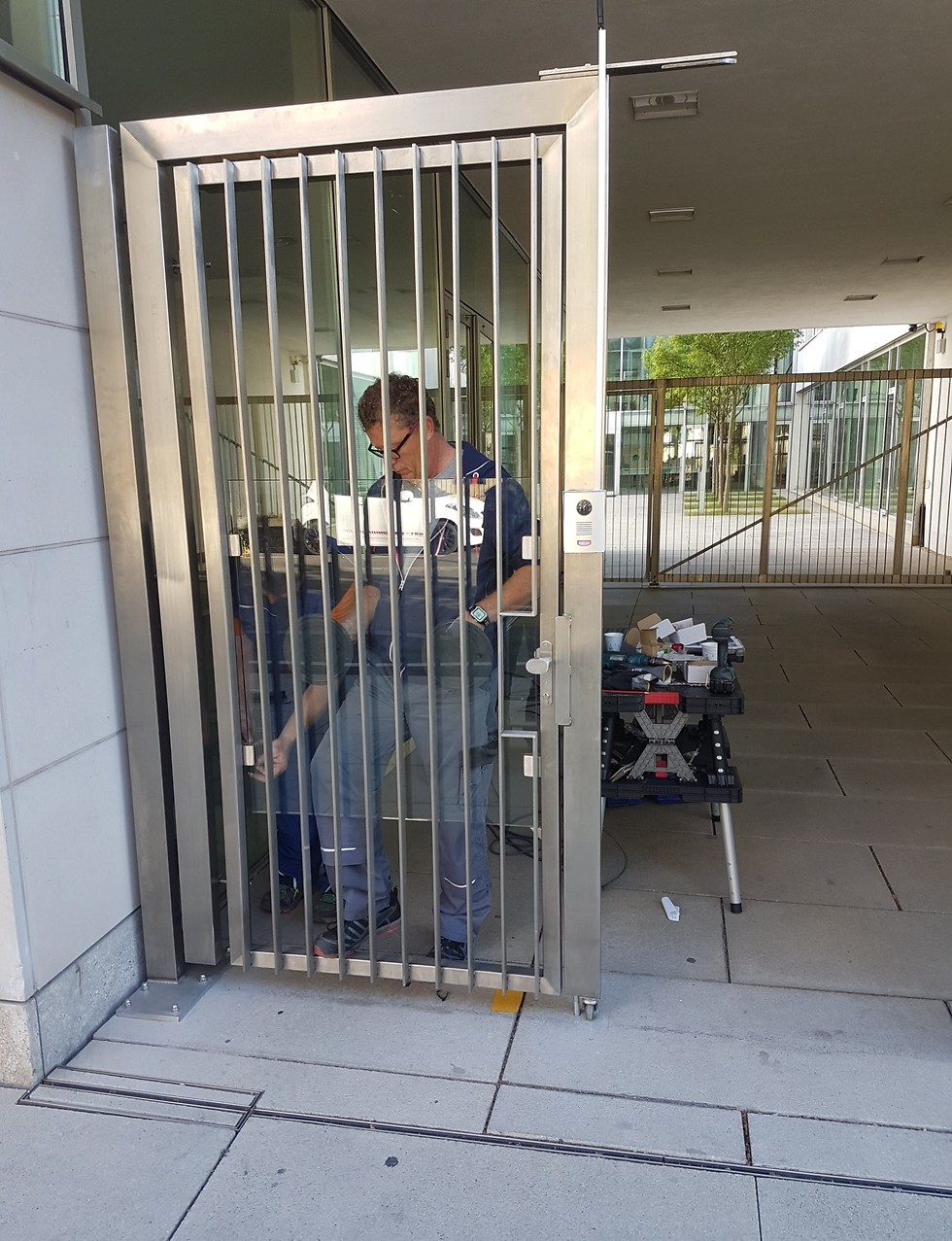 A security gate at the entrance to a Jewish community center in Germany