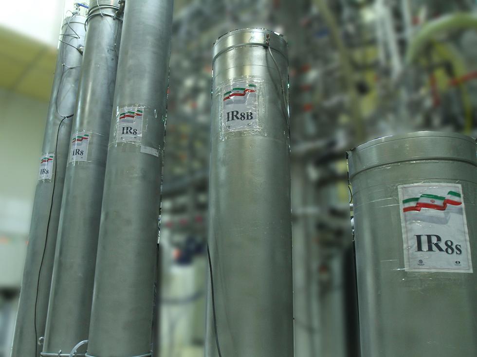 צנטריפוגה צנטריפוגות מתקדמות מסוג IR-8   ב מתקן העשרת ה אורניום ב נתנז איראן  (צילום: EPA)