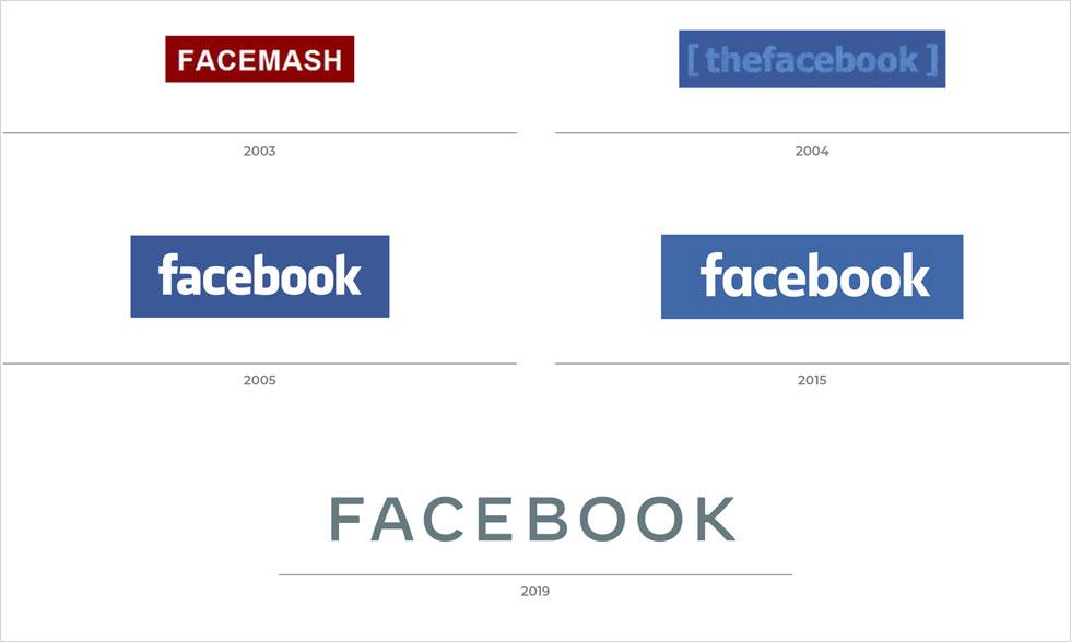 האבולוציה של הלוגו מאז היווסדה של פייסבוק. צעד נוסף בהזדקנות של המותג (צילום: מתוך newsroom.fb.com)