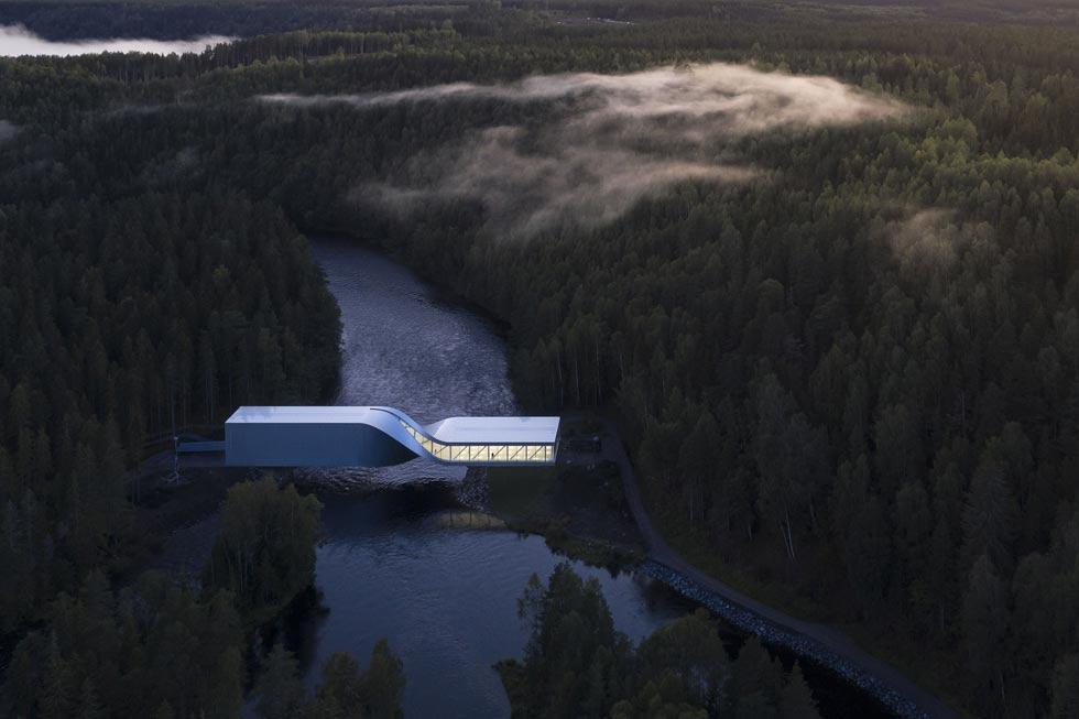 הצלם הרומני לאוריאן גיניצויו העפיל לגמר עם 3 תצלומים, שניים מהם של אותו מבנה: המוזיאון בעיירה הנורווגית Jevnaker, בתכנון משרד האדריכלים הדני Big (צילום: Laurian Ghinitoiu/APA19/Sto)