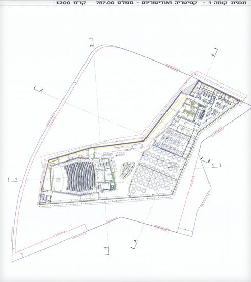 קפיטריה ואודיטוריום (תוכנית: מתוך jerusalem.muni.il)
