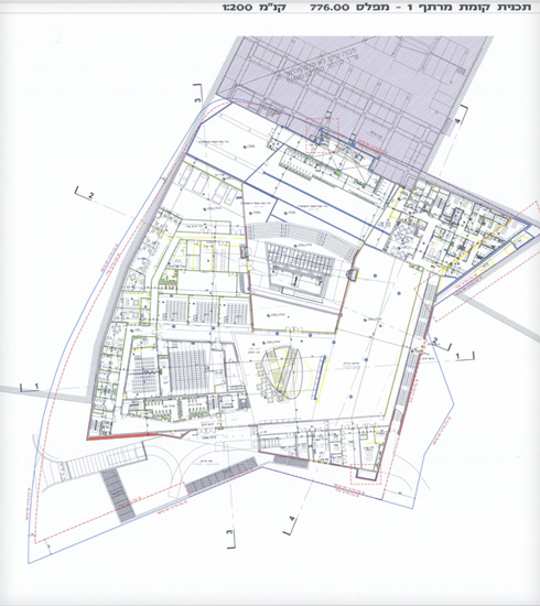 קומת המרתף הנוספת, שבה יפעל עיקר המוזיאון (תוכנית: מתוך jerusalem.muni.il)
