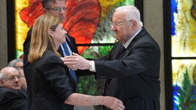 President Reuven Rivlin with the family of slain prime minister Yitzhak Rabin (Photo: GPO)
