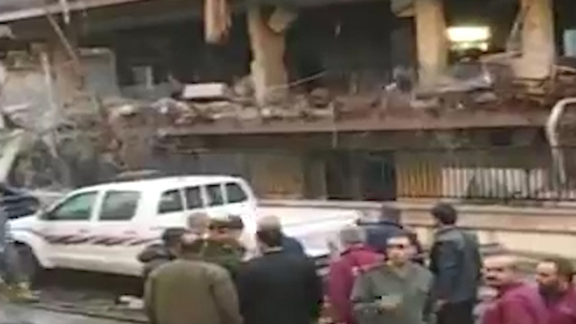 aftermath of attack on home of Islamic Jihad leader Akram Al-Ajouri in Damascus (Photo: TPS)