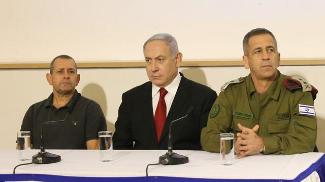 Shin Bet Director Nadav Argaman, Prime Minister Benjamin Netanyahu and IDF Chief of Staff Aviv Kochavi after the targeted killing of Baha Abu al-Ata (Photo: Motti Kimchi) (Photo: Moti Kimchi)