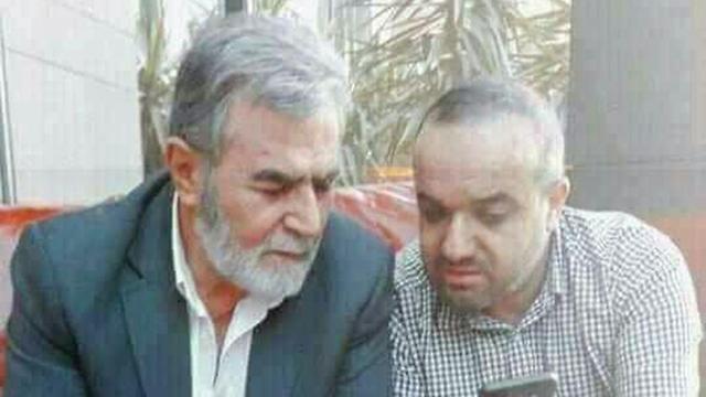 Baha Abu al-Ata, right, with Islamic Jihd leader Ziad al-Nakhalah
