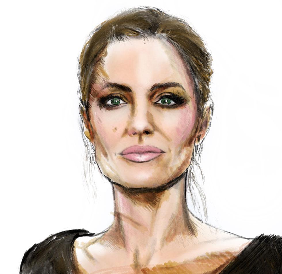 בין הופעותיה המדוברות בקולנוע מוגדרים גבולות הגזרה של תפיסת היופי המערבי: בין מכשפה לגיבורת אקשן. המחווה שלי לאנג'לינה ג'ולי (איור: ארז עמירן)