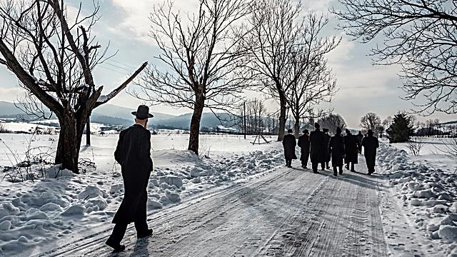 ביקור ראשון של קבוצת חסידים ביישוב הכפרי הפולני ישליסקה. במקום גרה בעבר קהילה חסידית ענפה. הם צועדים בדרך לבית קברות יהודי שנהרס. מאז הביקור הזה, החלו במקום בשחזור בית הקברות ובשיפוצו (צילום: אגניישקה טרצ'סבקה)