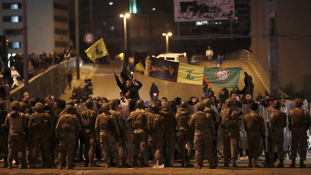 Hezbollah flags being waved in Beirut
