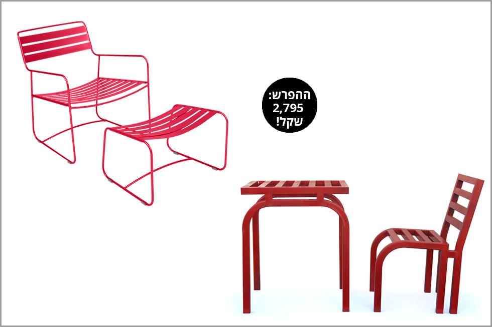 מימין: כיסא ושולחן עשויים מתכת: הסטודיו של אלון רזגור. משמאל: סט כורסה והדום מפלדה מגולוונת של המותג הצרפתי Fermob (צילום: אלון רזגור, טולמנ'ס דוט)