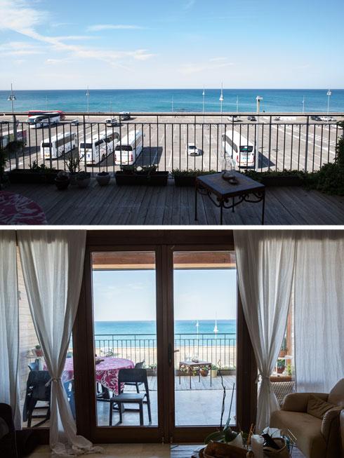 הנוף לים מהמרפסת והסלון (צילום: עדי סגל)
