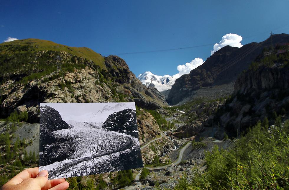 קרחונים שווייץ אז והיום (צילום: רויטרס)