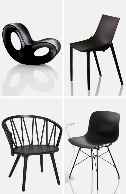 כיסאות שחורים ליום שישי השחור: (ימין למעלה ובכיוון השעון) כיסא בעיצוב פיליפ סטארק ב-659 שקל (במקום ב-942 שקל), כיסא בעיצוב מרסל וונדרס ב-999 שקל (במקום 1,419 שקל), כיסא ZIGZAG ב-1,790 שקל (במקום 2,990 שקל), כיסא הנדנדה בעיצוב רון ארד ב-1,790 שקל (במקום 2,916 שקל)
