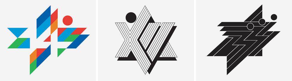סמלי המכבייה. סגנונו הייחודי התאפיין בצורות גיאומטריות בעלות צבעוניות עזה, ויכולת נדירה לספר סיפור שלם בתוך סמל גרפי פשוט (איור: דן ריזינגר, באדיבות מכון שנקר לתיעוד וחקר העיצוב בישראל)