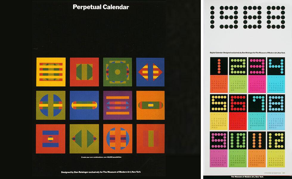 לוח שנה לכל החיים, הנמכר במוזיאון ה''מומה'' בניו יורק (איור: דן ריזינגר, באדיבות מכון שנקר לתיעוד וחקר העיצוב בישראל)